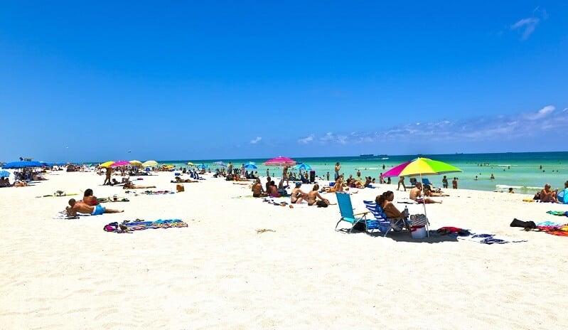 Umbrellas and beach chairs
