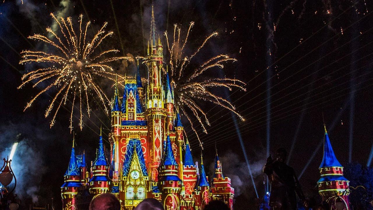 Magic Kingdom fireworks show at night