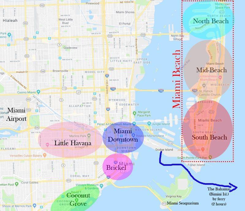 Miami Beach is divided into three regions: South Beach, Mid-Beach and North Beach.